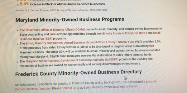 OED Launches Minority Business Database to Support Frederick Companies